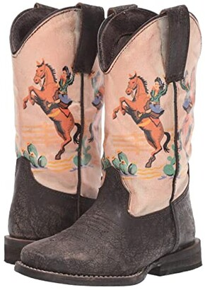 Roper Vintage Rodeo (Toddler/Little Kid) (Rub Off Brown Vamp/Digital Print Shaft) Kids Shoes