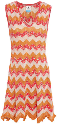 M Missoni Ruffle-trimmed Metallic Crochet-knit Mini Dress