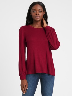 Banana Republic Cozy Ribbed Puff Sleeve Top