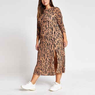 River Island Plus brown printed A line midi dress