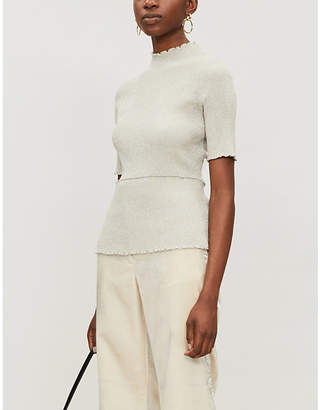 3.1 Phillip Lim High-neck metallic-knitted top