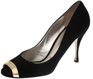 Dolce & Gabbana Black Suede And Gold Leather Peep Toe Buckle Pumps Size 41