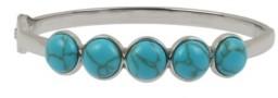 Kenneth Cole New York Silver-Tone Cabochon Hinged Bangle Bracelet