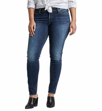 Silver Jeans Co. Women's Plus Size Suki Curvy Fit Mid Rise Super Skinny Jeans