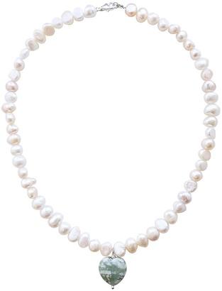 Smilla Brav Pearl Necklace Jade Heart Pendant