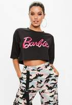 Missguided Barbie x Black Cropped T-shirt
