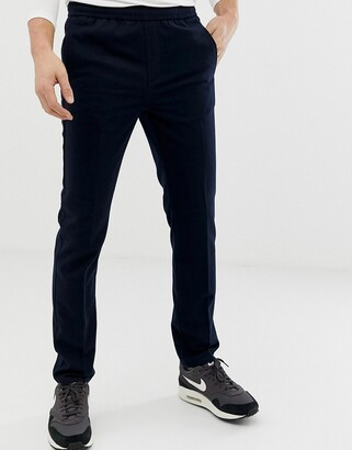 Burton Menswear slim fit elasticated waistband joggers in navy-Blue