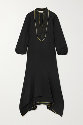Tory Burch Belted Asymmetric Embroidered Crepe Dress - Black