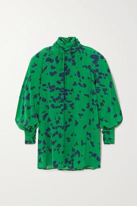 ROWEN ROSE Printed Silk Crepe De Chine Mini Dress - Green
