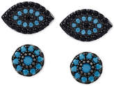 Macy's 2-Pc. Set Manufactured Turquoise Evil-Eye and Oval Stud Earrings in Sterling Silver
