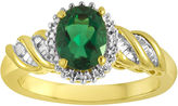 JCPenney FINE JEWELRY Lab-Created Emerald and Diamond-Accent Twist Ring