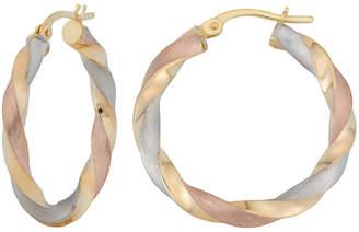 10k Italian Gold 10K Italian Gold Tri-Color Twist Hoop Earrings