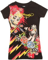 Ed Hardy Kids Girls Panther and Roses Short Sleeve T-Shirt - Black