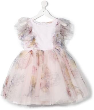 MonnaLisa Floral-Print Tulle Dress