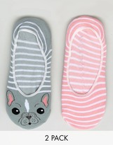 Sock Shop 2 Pack French Bulldog Footsies