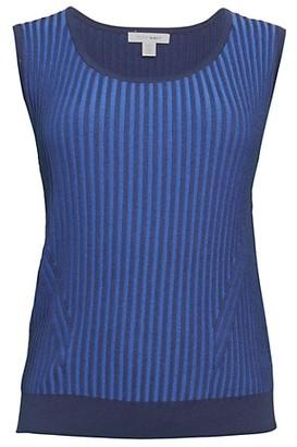 Pure Navy Plaited Rib-Knit Tank Top