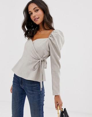 Asos Design DESIGN long sleeve wrap top with sweetheart neckline-Orange