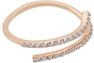 Kismet by Milka 14kt rose gold 2 Diamond Rows pinky ring