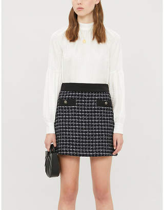 Sandro Checked high-waist tweed mini skirt