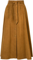 Martin Grant pleated skirt - women - Silk/Reindeer Leather - 34