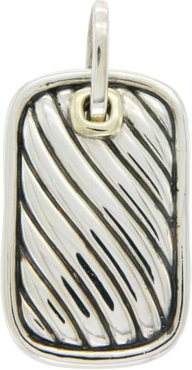 David Yurman 925 Sterling Silver & 14K Yellow Gold Enhancer Cable Pendant