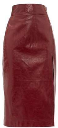Gucci High-rise Leather Pencil Skirt - Womens - Burgundy