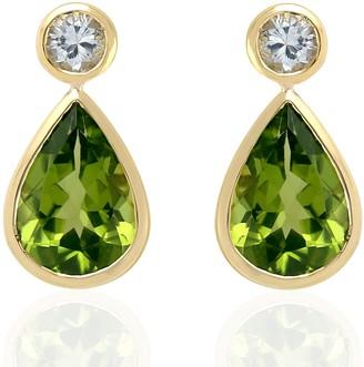 Artisan 18Kt Yellow Gold Pear Shape Dangle Earring Peridot White Sapphire Jewelry