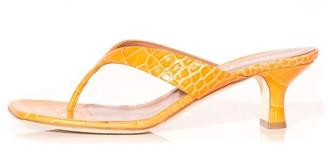 Paris Texas Moc Croco Thong Sandal in Orange
