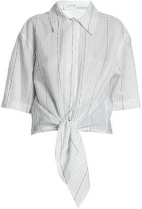 Off-White Off White Knot-Front Cotton Poplin Shirt