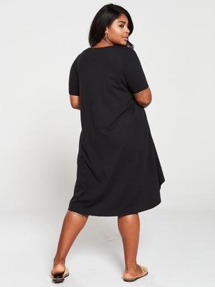 V By Very Curve Dipped Hem T-Shirt Dress - Black