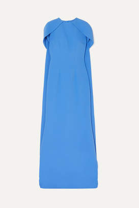 Safiyaa Cape-effect Stretch-crepe Gown - Blue
