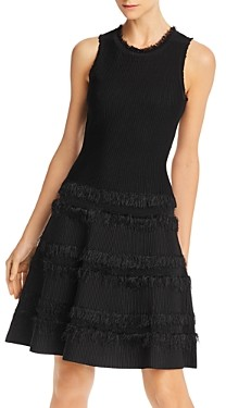 Milly Fringed Fit and Flare Dress