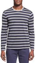 Daniel Buchler Stripe Long Sleeve Silk & Cotton T-Shirt