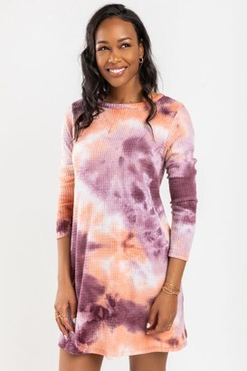francesca's Lylah Waffle Tie Dye Knit Dress - Gray