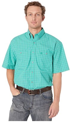 Wrangler George Strait Short Sleeve Two-Pocket Plaid (Emerald) Men's Short Sleeve Button Up
