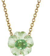 Irene Neuwirth One-Of-A-Kind Green Tourmaline Carved Flower Necklace - Yellow Gold