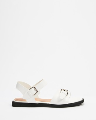 Betsy - Women's White Flat Sandals - Double Buckle Ankle Strap Sandals - Size 38 at The Iconic