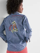 Lucky Brand Denim Western Shirt With Embroidery