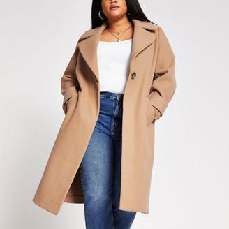 River Island Womens Plus camel long line cuff detail coat