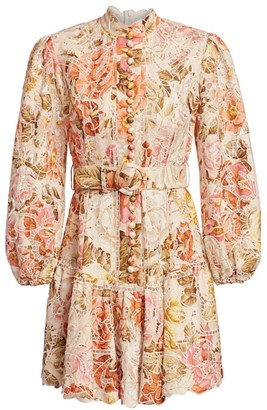 Zimmermann Bonita Embroidered Floral Lace Mini Dress
