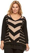 Dana Buchman Plus Size Mitered Stripe Mock-Layer Sweater