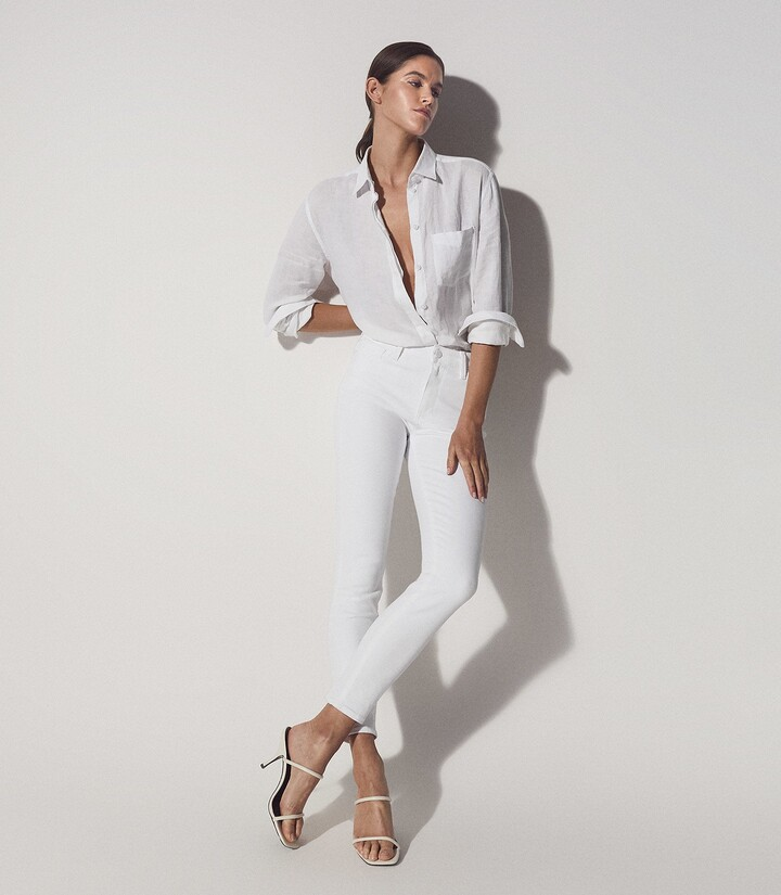 Thumbnail for your product : Reiss Hoxton - Paige High Stretch Skinny Jeans in White