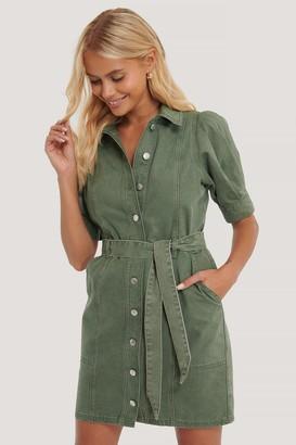 NA-KD Organic Puff Sleeve Denim Dress
