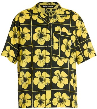 Palm Angels Damier Floral Bowling Shirt