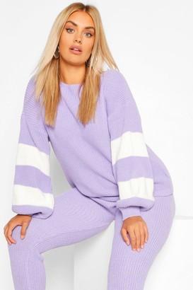boohoo Plus Balloon Sleeve Stripe Knitted Lounge Set