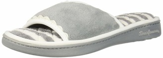 Dearfoams Women's Microfiber Terry Slide Slipper Sleet XL M US