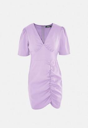 Missguided Ruched V Neck Mini Tea Dress