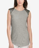 Lauren Ralph Lauren Petite Beaded Cap-Sleeve T-Shirt
