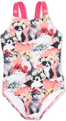 Molo Cat Flower-Print Swimsuit