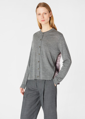 Paul Smith Women's Grey Cardigan With 'Movement' Pleated Back Panel